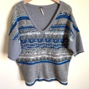 Free People Sweater Knit V Neck Gray Blue Size M